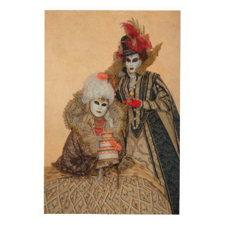 Couple in Carnival Costume, Venice Wood Canvas