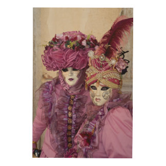 Couple In Carnival Costume, Venice Wood Wall Art