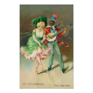 Couple in Costume Doing the Cake-Walk Poster