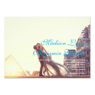 couple in front of Louvre/Wedding Invitation