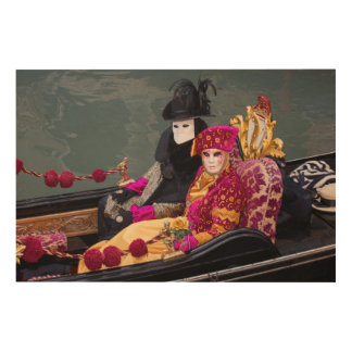 Couple In Gondola At Carnival, Venice Wood Wall Decor