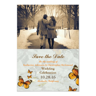 Couple in love at the park winter/butterfly card