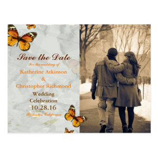 Couple in love at the park winter/butterfly postcard