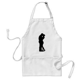 Couple in Love Silhouette embracing hug intimacy Standard Apron