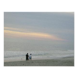 "Couple In Love Walking on Beach 4.25"" X 5.5"" Invitation Card"