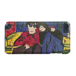 Couple in Love Woodcut Print Blue Red Yellow iPod Touch 5G Cases
