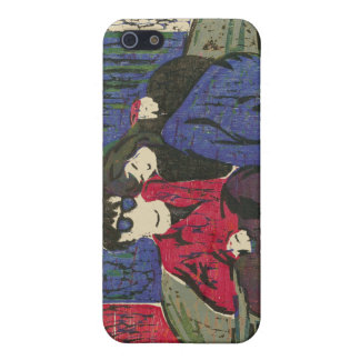 Couple in Love Woodcut Print Green Blue Red iPhone 5/5S Case
