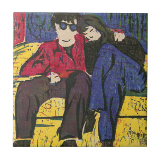 Couple in Love Woodcut Print Small Square Tile