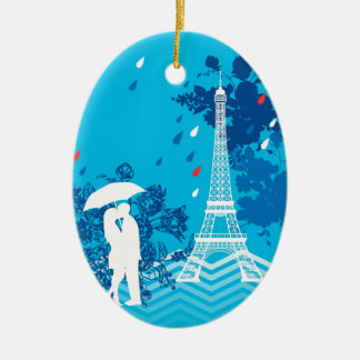 Couple in Paris with Eiffle Tower Ceramic Ornament