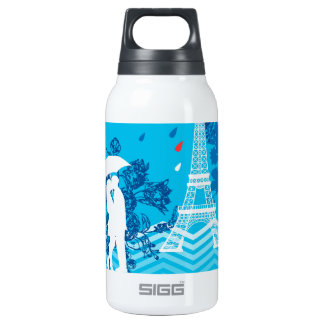 Couple in Paris with Eiffle Tower Insulated Water Bottle