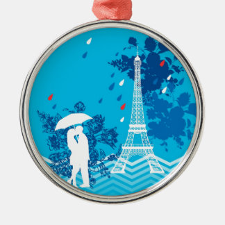 Couple in Paris with Eiffle Tower Silver-Colored Round Decoration