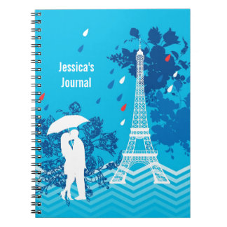 Couple in Paris with Eiffle Tower Spiral Note Books