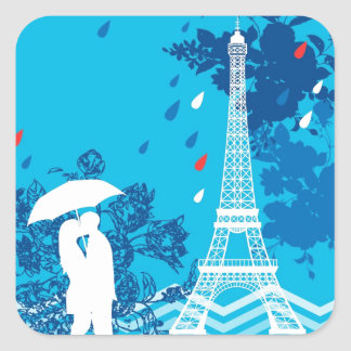 Couple in Paris with Eiffle Tower Square Sticker