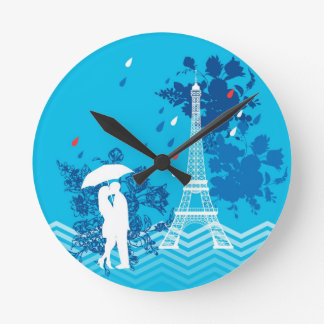 Couple in Paris with Eiffle Tower Wall Clocks