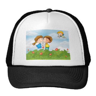 Couple in the garden with Mr. cupid Cap