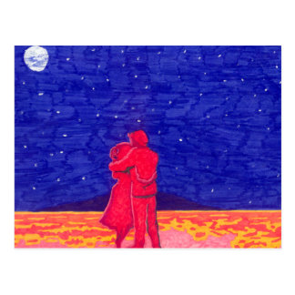 Couple in the twilight postcard