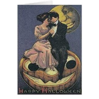 Couple Jack O Lantern Man In The Moon Greeting Card
