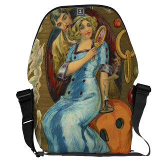 Couple Jack O Lantern Pumpkin Apple Messenger Bags