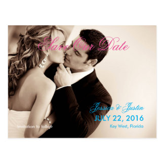 Couple Kiss Wedding Sepia/Save The Date Postcard