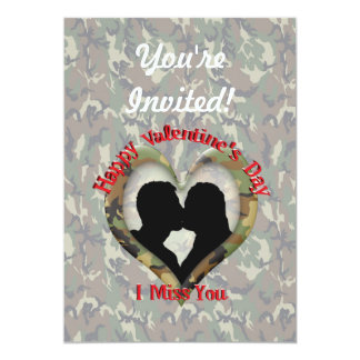 """Couple Kissing  - I missing you on Valentine's Day 5"""" X 7"""" Invitation Card"""