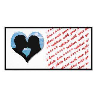 Couple Kissing Silhouette with Blue Sky Heart Custom Photo Card