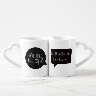 Couple Mugs: Hello Handsome / Morning Beautiful Coffee Mug Set