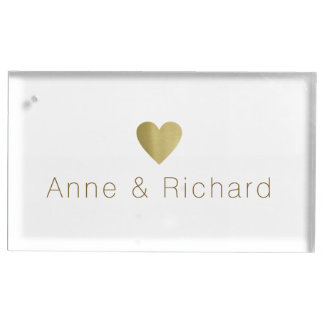 couple names with a faux gold heart, wedding table card holders