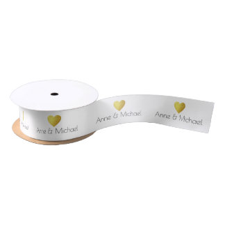 couple names with gold heart wedding white satin ribbon