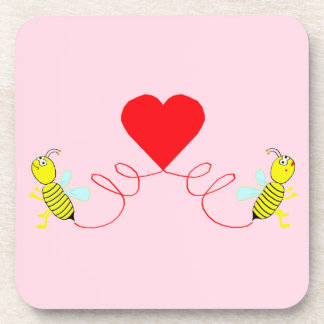 couple of bees coaster