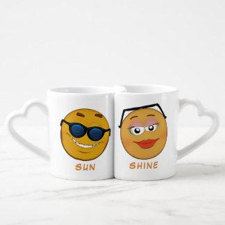 Couple of cute personalised smileys 2 coffee mug set