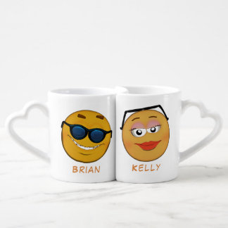 Couple of cute personalised smileys cartoon style coffee mug set