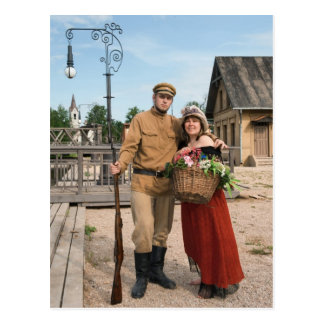 Couple of lady and soldier in retro style picture postcard
