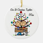 Couple on Bench, Cat Personalised Holiday Ornament