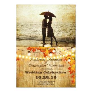 Couple on the beach/fall theme 13 cm x 18 cm invitation card