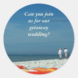 Couple on the Sandy Beach Round Sticker