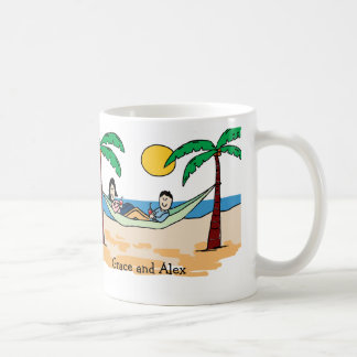 Couple on vacation- personalized cartoon mug