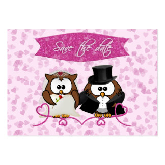 couple owl - save-the-date pack of chubby business cards