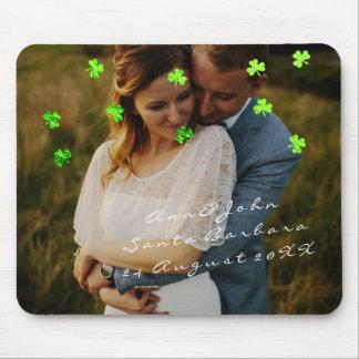 Couple Photo Name Wedding Favor Clover Green Mouse Pad