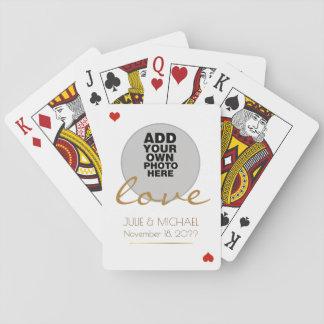 couple photo wedding white playing cards