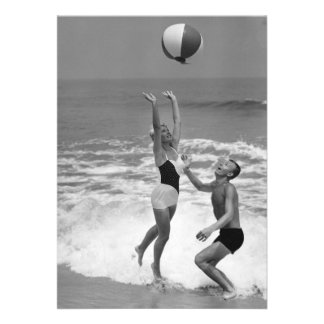 Couple Playing with a Beachball Custom Invite