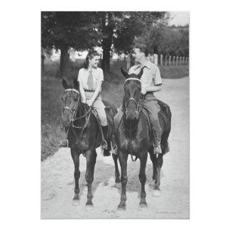 Couple Riding Horses Custom Invitations