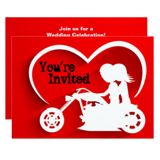 Couple Riding Motorcycle, Heart Wedding Invitation