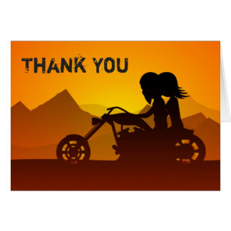 Couple Riding Motorcycle with Mountains Thank You Card