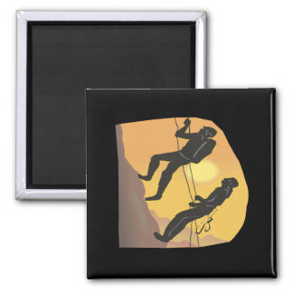 Couple Rock Climbing Refrigerator Magnet