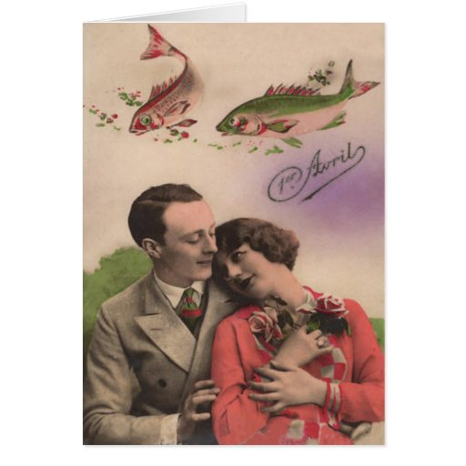 Couple Rose Fish Poisson d'avril April Fool's Day Cards