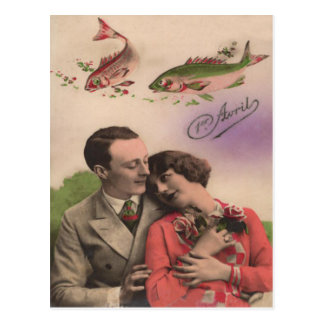 Couple Rose Fish Poisson d'avril April Fool's Day Postcard