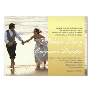 Couple Running on the Beach/Wedding Invitation