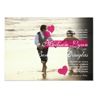 Couple Running on the Beach/Wedding Invitation