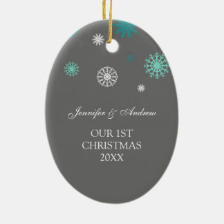 Couple s First Christmas Photo Ornament Grey Aqua