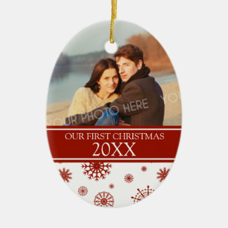 Couple s First Christmas Photo Ornament Red